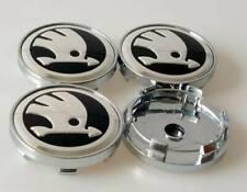 4x Skodas New Style Alloy Wheel Hub Centre Cap Black/Silver  60mm