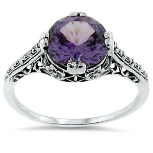 4 Ct COLOR CHANGING LAB ALEXANDRITE ANTIQUE STYLE 925 SILVER RING SIZE 7    #163