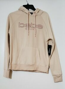 Bebe Sport Logo Pullover Hoodie Sweatshirt Top- Size L NWT