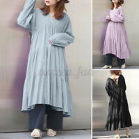 ZANZEA 8-24 Women Plus Size A-Line Long Sleeve Midi Dress Tiered Babydoll Dress