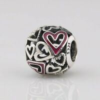 2020 Valentines New 925 Sterling Silver Pink Openwork Freehand Heart Charm