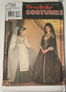 Medieval Renaissance costume sewing pattern Simplicity 7756 Historical Sz 10 -14
