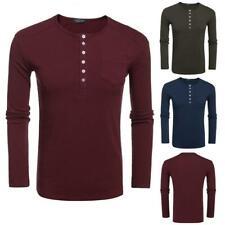 Herren Beiläufige O-Ausschnitt Langarm Solide Stricken T-Shirt Oberteile JDDE 01