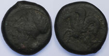 Sicily, Syracuse Timoleon AE20 344-336 BC Athena w Corinthian helmet /Hippocamp!