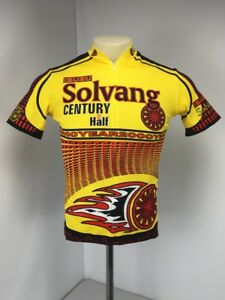 TOGA ISUZU Solvang Century & Half Year 2000 Yellow Cycling 3/4 Zip Jersey Sz S