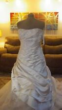 Davids Bridal Strapless Wedding Gown in Champagne sz 12 Beaded embroidery NWT