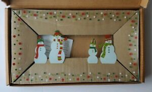 The Pampered Chef Christmas Snowman Dots Divided Platter New In Box