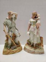 Pair of Antique Gebruder Heubach Bisque Figurines German Porcelain c.1882 MARKED