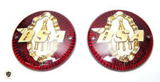 BSA GAS TANK BADGE SET ROUND 3 14 RED & GOLD C11 C12 M20 M21 A7 A10 |Fit For