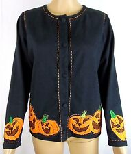 Michael Simon Lite Womens Petite Small Black Halloween Cardigan Shirt NEW
