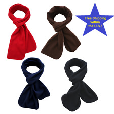 4 PC Kids Winter Fleece Scarves Various Colors Red Navy Blue Brown Black Scarf