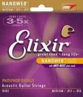 5PCS set Elixir Nanoweb Phosphor Bronze Medium Acoustic Guitar Strings 16102