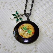GREEN & RED DRAGONFLY LOCKET Black Bubble Dragonfly Charm Photo Locket Necklace