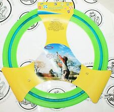 """FLYING 11"""" DISC LARGE RING PLASTIC RUBBER GREEN & BLUE TOY FUN GAME FOR OUTDOORS"""