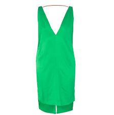 JUAN CARLOS OBANDO $2,250 deep-v bright green silk RST12 cocktail dress 4/40 NEW
