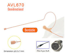 Mini Tan Headset Omnidirectional Single Ear Mic for Shure Wireless L1 SLX ULX PG
