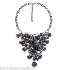 Purple Necklace Earring Set Amethyst Glass Bead Bib Statement Design