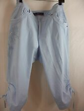 SOFT PALE BLUE CROPPED COTTON PANTS WITH EMBROIDERY ( size 16 )