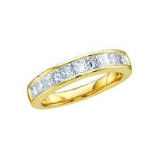 14K WOMENS PRINCESS CUT DIAMOND WEDDING BAND RING 1/2CT