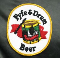 FYFE DRUM BEER EMBROIDERED SEW ON PATCH ALE ADVERTISING UNIFORM 3 1/2 x 4 1/4