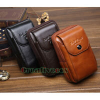 Men Genuine Leather Cell/Mobile Phone Case Cover Belt Fanny Pack Waist Purse Bag