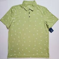 George Mens Honey Palm Tree Jersey Polo S/S Work Golf Button Shirt L XL NWT FAST