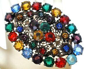 Art Deco Fruit Salad Brooch with Multi Color Rhinestone Flower Pin Jewelry W