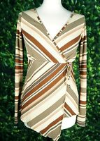 New Look 00s Brown Orange Cream Flared Sleeve Wrap Zig Zag Stripe Top UK Size 10