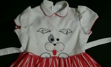 Vintage Ruth Of Carolina Dress Toddler Girl 2T White and Red