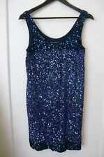 FRENCH CONNECTION SEQUIN DRESS 8 RRP £180 SEQUINNED PURPLE BLUE INDIGO STRAPPY