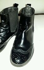 Bonpoint Girls Classic Black Patent Leather Ankle Boots