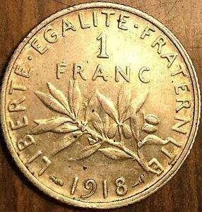 1918 FRANCE SILVER 1 FRANC SEMEUSE COIN