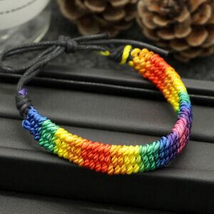 Pride LGBT Rainbow Unisex Leather Bracelet Gay Pride Bisexua Lesbian Fashion