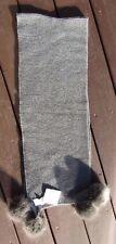 NWT Restoration Hardware Gray Wool Cashmere Gray Scarf w/ Gray Faux Fur Trim