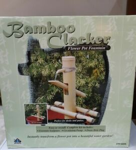 Bamboo Clacker Flower Pot Water Fountain with Pump NEW