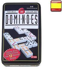 Juego de domino doble 6 de colores 28 fichas + caja metal Dominoes