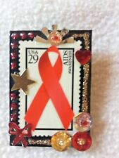 AIDS Awareness Pin and Earrings by Willow -Postage Stamp 1989 -Vintage