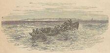 A4238 Barca da trasbordo - Incisione - Stampa Antica del 1887
