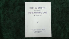 LIONEL # 77 & 077 CROSSING GATE INSTRUCTIONS PHOTOCOPY