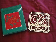 Vintage Avon Holiday Christmas Pie Brass Trivet Hot Plate Wall Hanging Gift