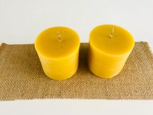 DUE TO POPULAR DEMAND BACK / 100 %  NATURAL  BEES WAX  CANDLES SET OF TWO / UK