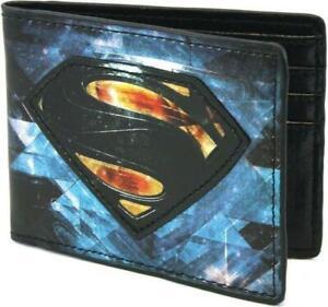 NEW BIOWORLD Superman Man of Steel Logo Vegan Bi-fold Wallet Official Licensed