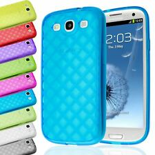 SOFT TPU TRANSPARENT DIAMOND RHOMB GEL CASE COVER FOR SAMSUNG GALAXY S3 III