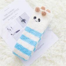 Winter Warm Coral Velvet Striped Knee Thigh High Thick Stockings Animal Socks Blue White Panda