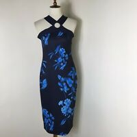 Ted Baker Cosiima Floral Sheath Dress Size 5 US 14 Midi Blue NWT