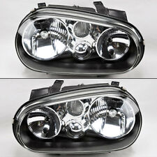 Volkswagen Golf Cabrio 99-04 MK4 Black Glass Front Headlights Pair Set RH LH