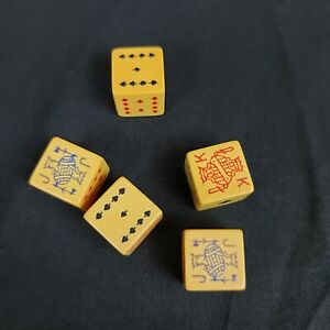 Celluloid Bakelite Poker Dice Pair Gambling Collectibles Vintage Antique TESTED