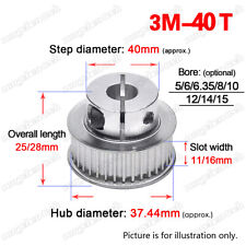 3M40T Timing Belt Pulley Wheel 5-15mm Clamp Bore 3mm Pitch for 10/15mm Wide Belt