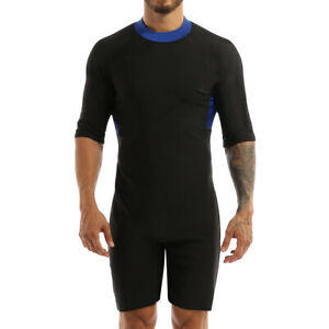 Men Surfing Jumpsuit Diving Shorty Wetsuit One-Piece Swimwear Rock Neck Shorts