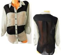 I.N Studio white black polka dots 3/4 sleeves sheer see through buttoned top 1X